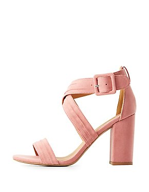 Qupid Crisscross Block Heel Sandals