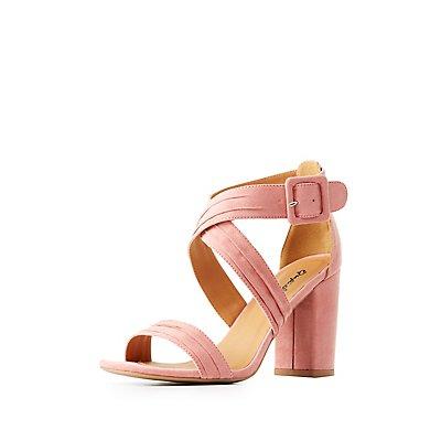 Qupid Crisscross Block Heel Sandals