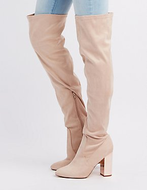 Metallic Heel Over-The-Knee Boots