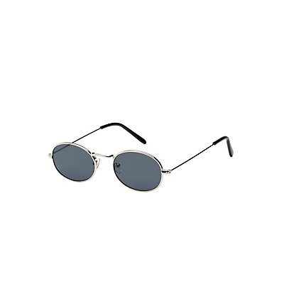 Metal-Trim Oval Sunglasses