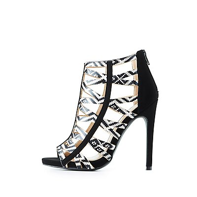 Qupid Tribal Print Caged Sandals