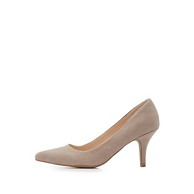 Qupid Faux Suede Pointed Toe Pumps