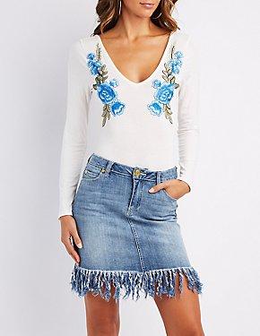 Floral Embroidered V-Neck Bodysuit