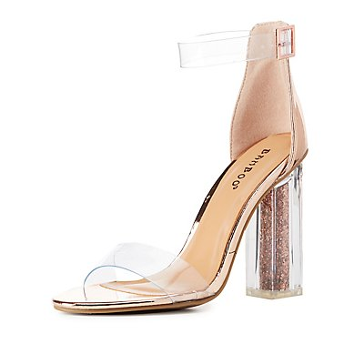 Bamboo Clear Ankle Strap Glitter Heel Sandals