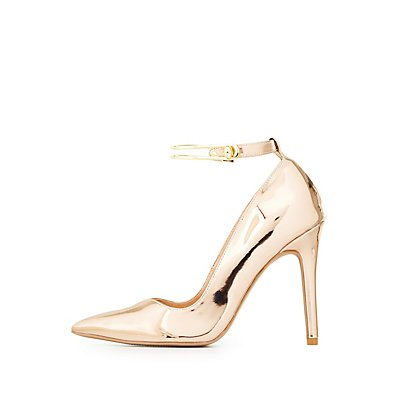 Qupid Metal-Trim Pointed Toe Pumps
