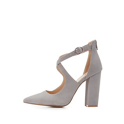 Qupid Faux Nubuck Crisscross Dress Sandals