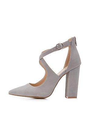 Qupid Faux Nubuck Crisscross Dress Sandals