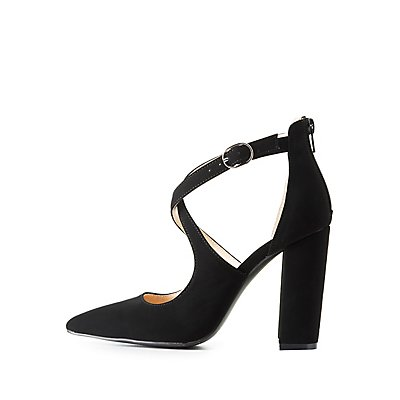 Qupid Strappy Pointed Toe Pumps