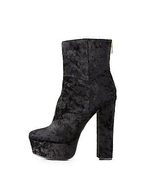 Velvet Platform Ankle Booties