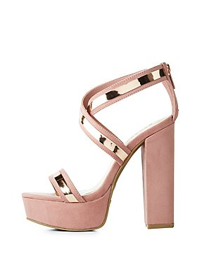 Bamboo Metallic-Trim Platform Sandals