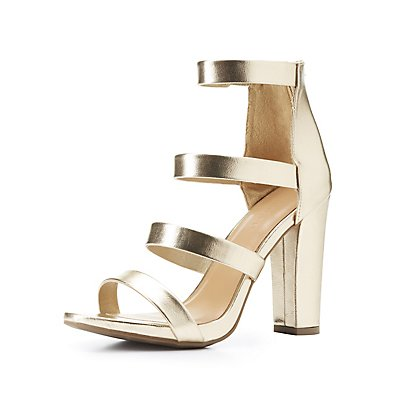 Bamboo Caged Block Heel Sandals