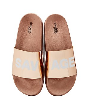 Savage Metallic Slide Sandals