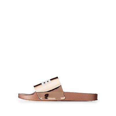 Savage Metallic Slide Sandals