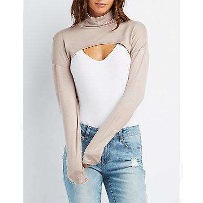 Turtleneck Open Cropped Top
