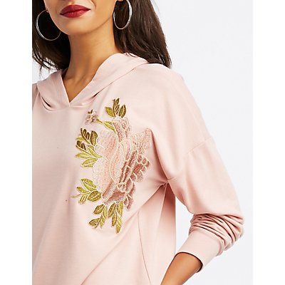 Floral Embroidered Hoodie Tunic