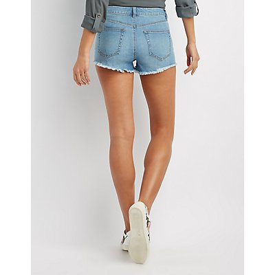 Refuge Lace-Up Denim Shorts