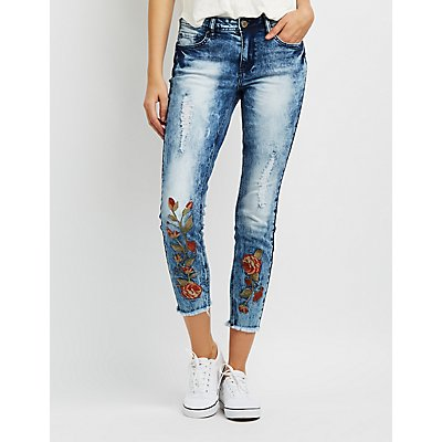Destroyed Marble Wash Floral Embroidered Jeans
