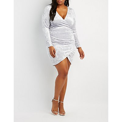 Plus Size Velvet Bodycon Wrap Dress