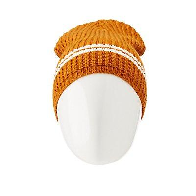 Varsity Striped Ribbed Knit Beanie