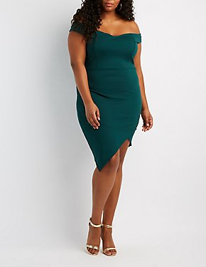 Plus Size Off-The-Shoulder Asymetrical Bodycon Dress