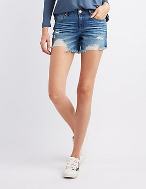 Refuge Destroyed Girlfriend Destroyed Denim Shorts