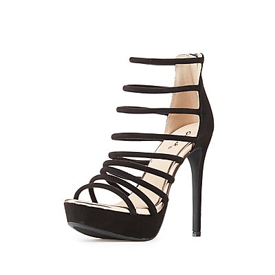 Qupid Caged Tubular Platform Sandals