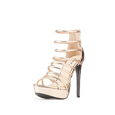 Qupid Metallic Caged Tubular Platform Sandals