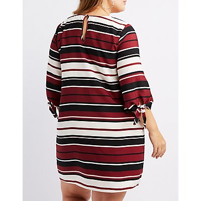 Plus Size Striped Tie-Sleeve Shift Dress