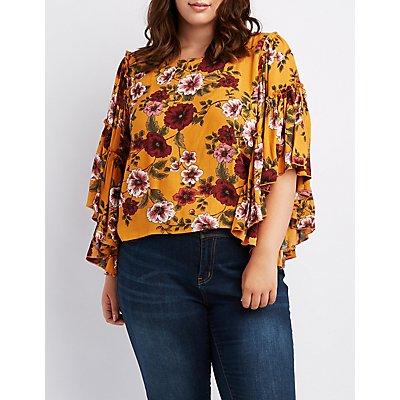 Plus Size Floral Ruffle-Trim Top