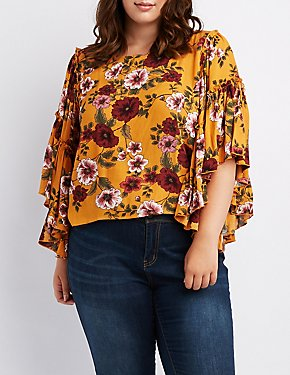 Plus Size Floral Ruffle-Trim Top
