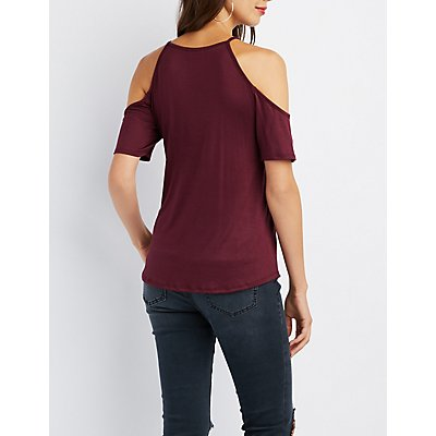 Lace-Up Cold Shoulder Tee