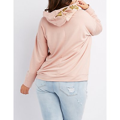 Plus Size Embroidered Drawstring Hoody