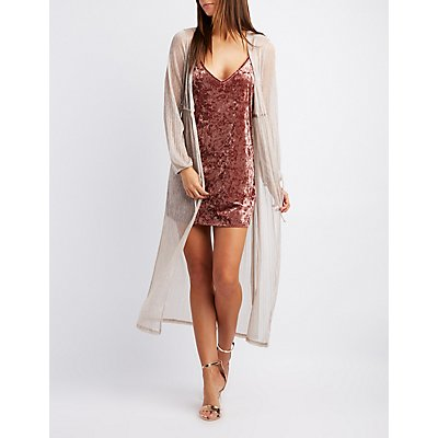 Shimmer Micro Pleated Duster Kimono