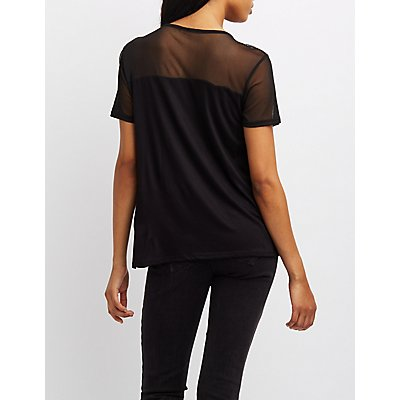 Mesh-Trim Lace-Up Tee