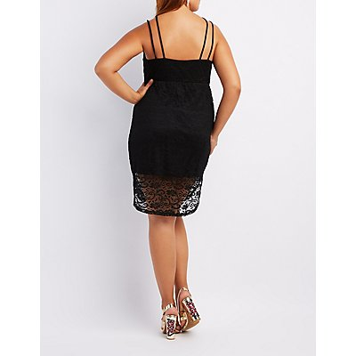 Plus Size Lace Caged Bodycon Dress