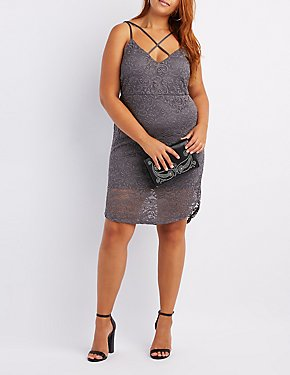 29a01df60f75e Plus Size Lace Caged Bodycon Dress