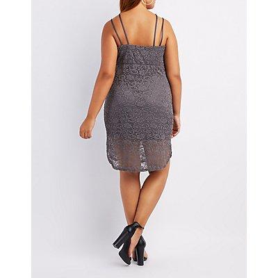 Plus Size Lace Caged Bodycon Dress