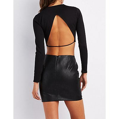 Ponte Open Back Crop Top