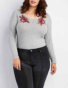Plus Size Ribbed Embroidered Bodysuit