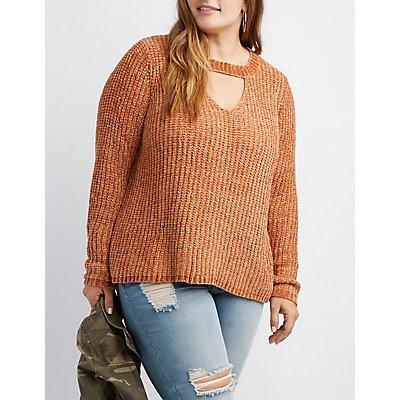 Plus Size Choker Neck Cut-Out Sweater
