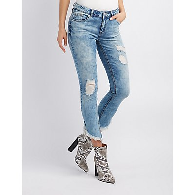Refuge Destroyed Frayed Hem Skinny Jeans