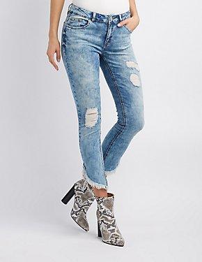 675090680d157 Refuge Destroyed Frayed Hem Skinny Jeans