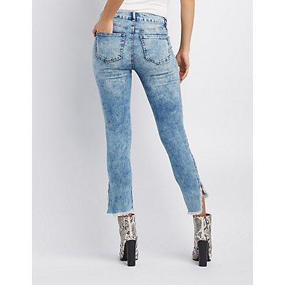 Refuge Destroyed Frayed Hem Skinny Jeans