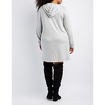 Plus Size Destroyed Lace-Up Hooded Sweatshirt
