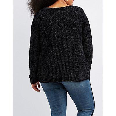 Plus Size Chenille Raglan Boyfriend Sweater