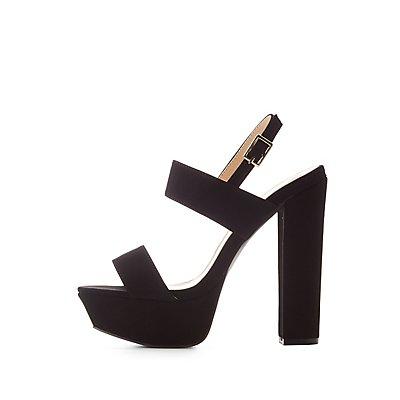 Qupid Block Heel Platform Sandals