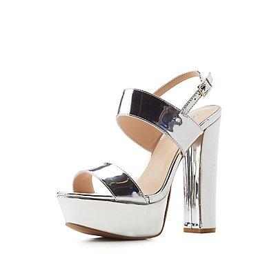 Qupid Metallic Platform Sandals