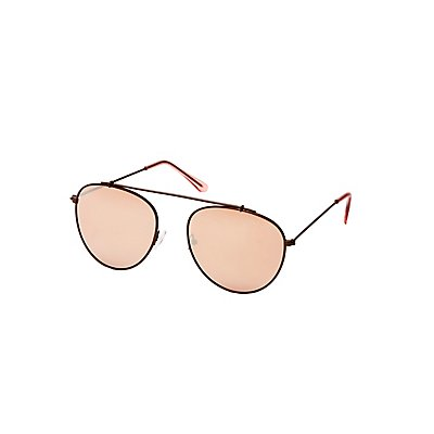 Metal Brow Bar Aviator Sunglasses