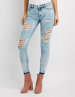 Refuge Skin Tight Legging Destroyed Marble Jeans