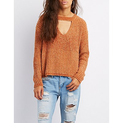 Chenill Cut-Out Sweater
